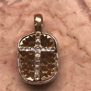 Waxing poetic brass crystal cross pendant